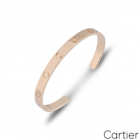 Cartier Rose Gold Plain Cuff Love Bracelet Size 17 B6032617